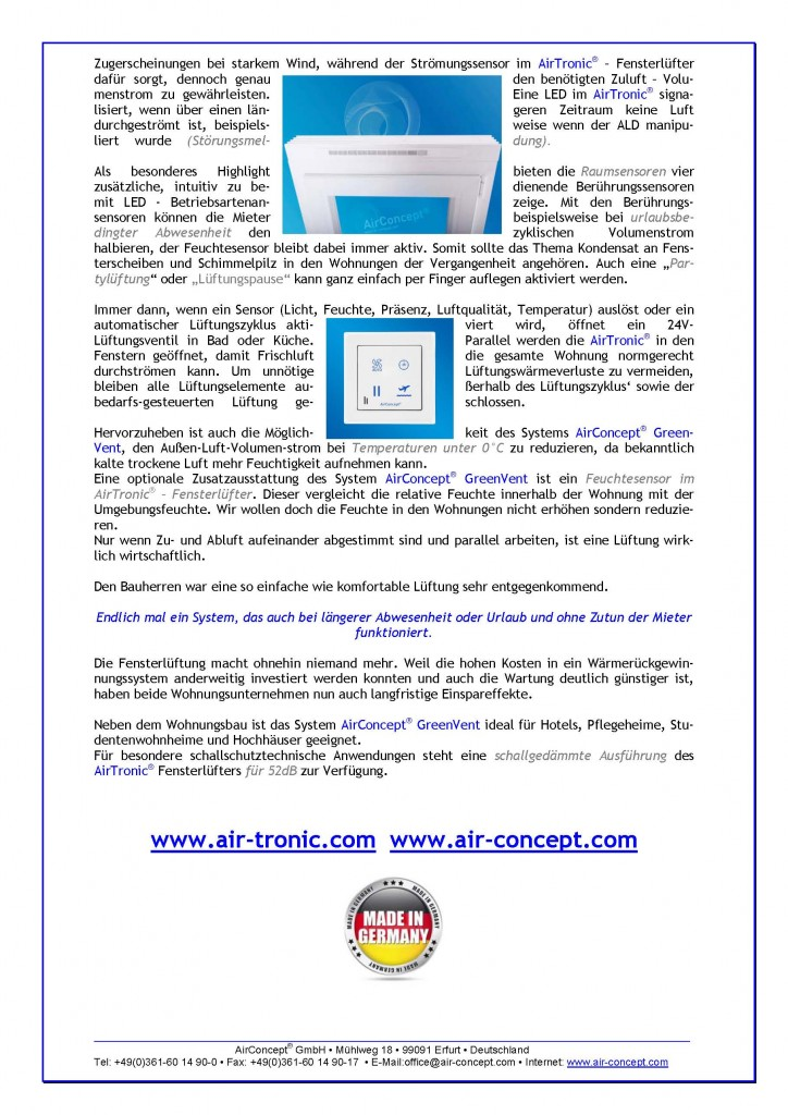 GreenVent mit AirTronic Referenz Eisenberg